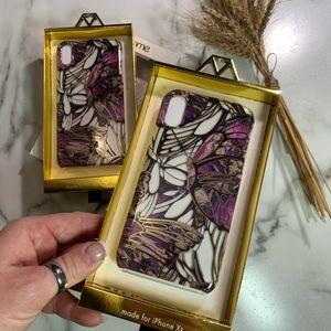 iPhone X/XS gold purple foil butterfly phone case
